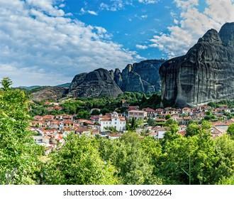 Monasteries on the top of rock in summer day in Meteora, Greece.