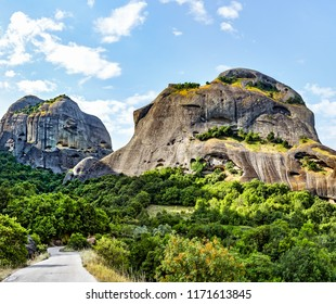 Monasteries on the top of rock in summer day in Meteora, Greece