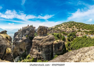 Monasteries on the top of rock in a summer day  in Meteora, Greece