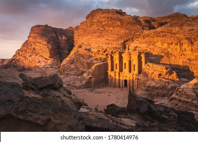 The Monastery or Ad Deir at beautiful sunset in Petra ruin and ancient city of Nabatean kingdom, Jordan, Arab, Asia