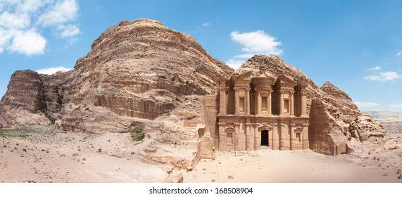 The Monastery (Ad Deir), an example of Nabataean classical style, Petra, Jordan.  Panoramic view with surronding cliffs.