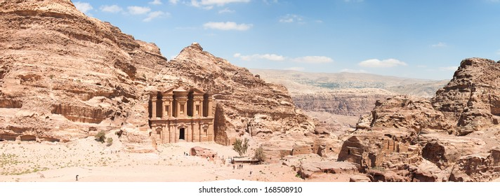 The Monastery (Ad Deir), an example of Nabataean classical style, Petra, Jordan.  Panormaic view from surronding cliffs.