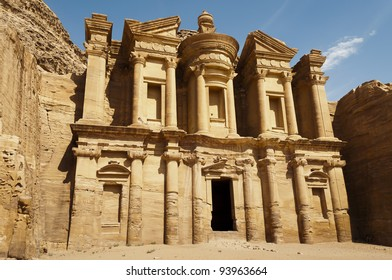 The Monastery (al-Deir or ad-Dayr in Arabic), a Nabatean structure from the 1st century BC, dominates the crest of a mountain north of Petra's city center.