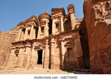 Monastery in ancient city of Petra. The temple of Al Khazneh in Petra is one of UNESCO World Heritage Sites and one of the world wonders