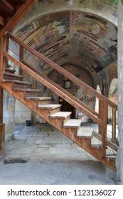 Monastery of Bachkovo / Bulgaria - September 18, 2014: Monastery interior and exterior decoration, before 1900s