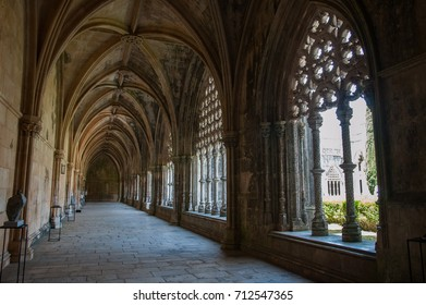 Monastery of Batalha, historical architectural heritage, Manueline style in beautiful Gothic building, beautiful cloister and rich in details, in the city of Batalha, Portugal, May 2017.