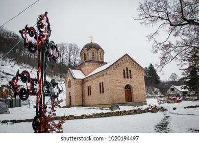 Monastery Besenova in snow on Fruska gora mountain, Vojvodina, Serbia