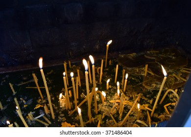 Monastery burning candles for the living and for the dead.