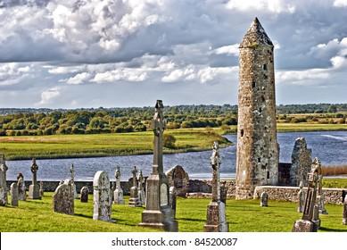 The monastery of Clonmacnoise, Ireland - McCarthy's Tower