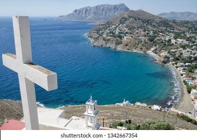 Monastery of the Cross. Panormos village, Kalymnos island, Greece.