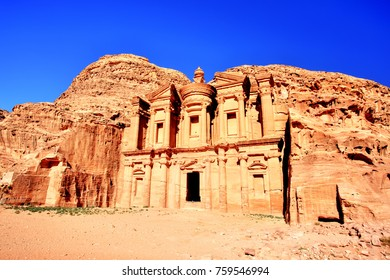 The Monastery (El Dayr) in Petra Ancient City in a Golden Sun, Jordan