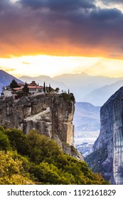 Monastery of the Holy Trinity on cliff. Greek destinations. The Meteora monasteries, Greece Kalambaka. UNESCO World Heritage site.