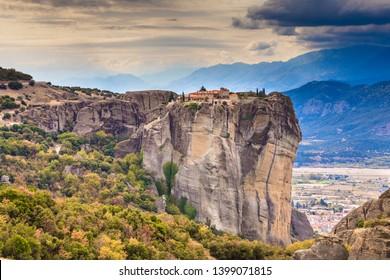 Monastery of the Holy Trinity on cliff. Greek destinations. The Meteora monasteries, Greece Kalambaka. UNESCO World Heritage site.