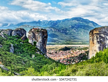 The Monastery of the Holy Trinity is on top of the cliffs. in summer day in Meteora, Greece.