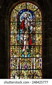 Monastery of Jeronimos, Lisbon, Portugal. Vitrage window. Interior of church