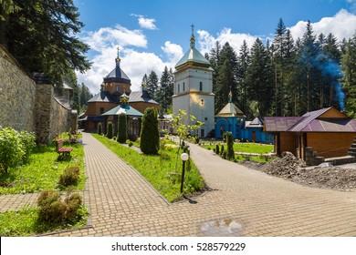 Monastery in Manyava village, Ivano-Frankivsk Region in a beautiful summer day, Ukraine