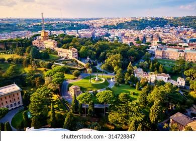 Monastery Mater Ecclesiae, Mother of the Church, inside Vatican City surrounded by Vatican Gardens viewed from top of the dome of the basilica of St. Peter