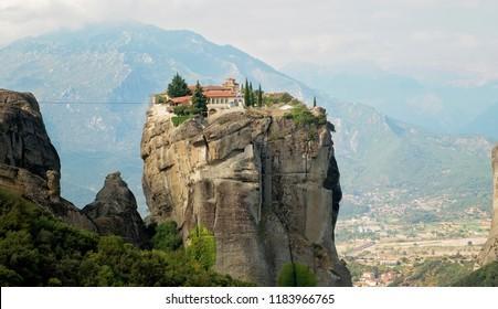 Monastery Meteora Greece, Kalambaka, UNESCO heritage list object.