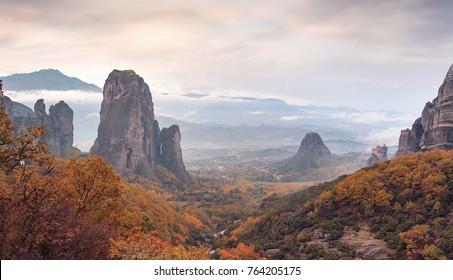 Monastery Meteora of Greece, landscape of Meteora Greece