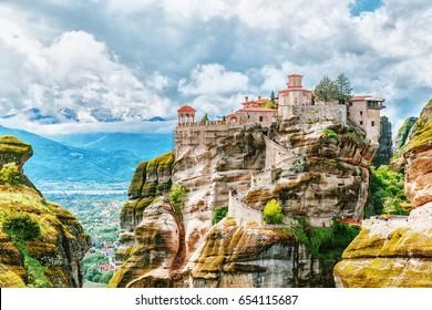Monastery Meteora Greece. UNESCO heritage list object.