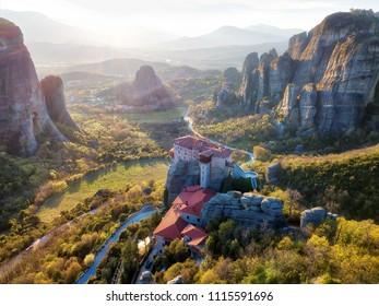 Monastery in Meteora, Northern Greece in Spring 2018