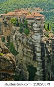 Monastery from Meteora-Greece, beautiful landscape with tall rocks with buildings on them.