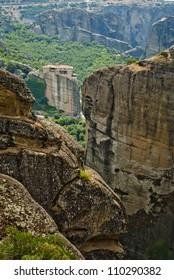 Monastery from Meteora-Greece far far away, between rocks captured