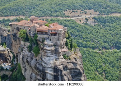 Monastery from Meteora-Greece, large view with the green forest in the back