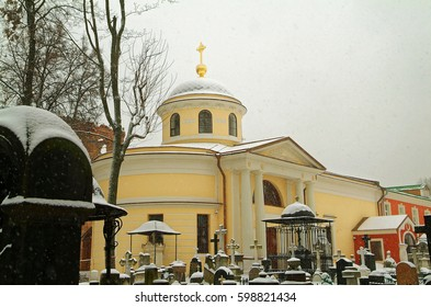 monastery in Moscow, walking the grounds in the snow