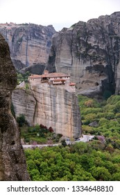 Monastery on a Cliff in Meteora, Greece
