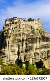 Monastery on cliff in Meteora, Kalambaka Thessaly Greece. Greek destinations. UNESCO World Heritage site.