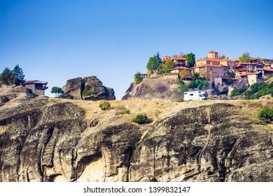 Monastery on cliff in Meteora, Kalambaka Thessaly Greece. Greek destinations. UNESCO World Heritage site.