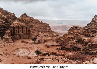 The Monastery of Petra on top of a red rock mountain in Jordan
