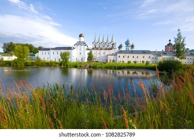 Monastery pond in the Tikhvin Assumption Monastery on a sunny September morning. Tikhvin, Russia