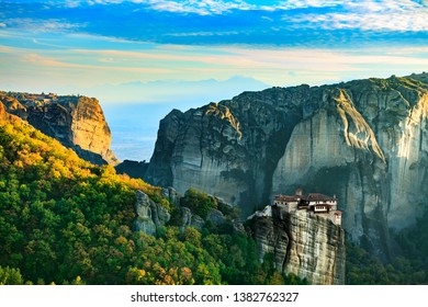 The Monastery of Rousanou St. Barbarain in Meteora rock formation, Thessaly Greece. Greek destinations