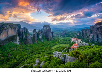 Monastery of Rousanou and Monastery of St. Nicholas Anapavsa in famous greek tourist destination Meteora in Greece on sunset
