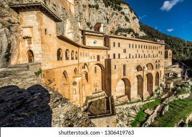 Monastery of Sacred Cave (Sacro Speco) of Saint Benedict in Subiaco, province of Rome, Lazio, central Italy.