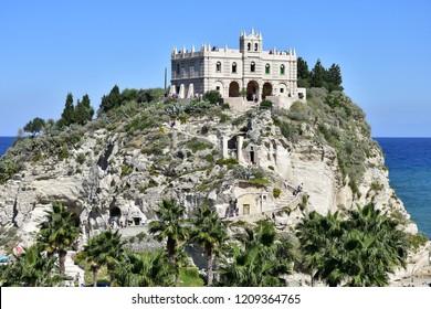 Monastery Sanctuary church Santa Maria dell Isola on top of rock