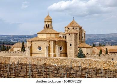 Monastery of Santa Maria de Poblet, Catalonia, Spain overview