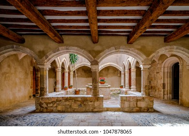 Monastery of Santa Maria de Santes Creus, Tarragona Spain, Courtyard of the Abbey Palace, today town hall of the town