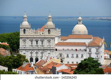 Monastery of Sao Vicente de Fora and Santa Engracia with Tagus River at the background, photo taken from Castelo de Sao Jorge, Lisbon, Portugal.