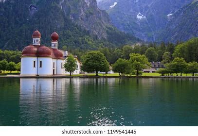 Monastery of St. Bartholomew on bank of Konigssee Lake, Germany