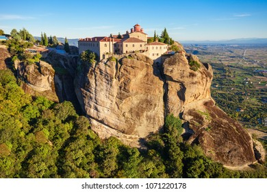 The Monastery of St. Stephen at the Meteora. Meteora is one of the largest and most precipitously built complexes of Eastern Orthodox monasteries in Greece.
