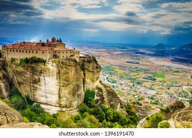 Monastery of St. Stephen on cliff. Greek destinations. The Meteora monasteries, Greece Kalambaka. UNESCO World Heritage site.