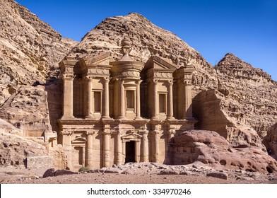 The monastery in world wonder Petra, Jordan