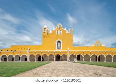 Monastery in the Yellow City of Izamel in Yucatan Mexico / Long Exposure with Moving Clouds