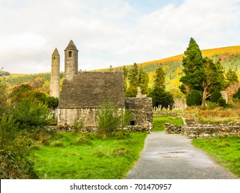 Monastic site Glendalough. Glendalough Valley, Wicklow Mountains National Park, Ireland