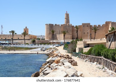MONASTIR CITY, TUNISIA - CIRCA MAY, 2012: View from the Al-Qurayyah beach to the town fortress Ribat in Monastir city, Tunisia. Ribat is a small fortification