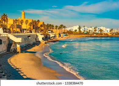 Monastir in Tunisia is an ancient city and popular tourist destination with a beach on the Mediterranean Sea.