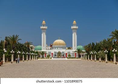 MONASTIR / TUNISIA - JUNE 2015: View to Bourguiba mausoleum, grave of former president, Monastir, Tunisia